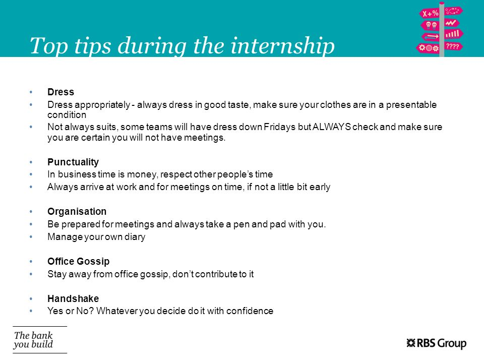 Top tips during the internship
