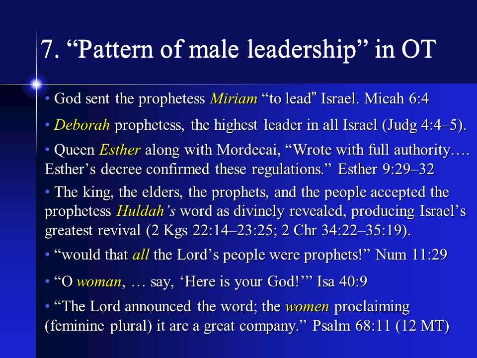 7. Pattern of male leadership in OT