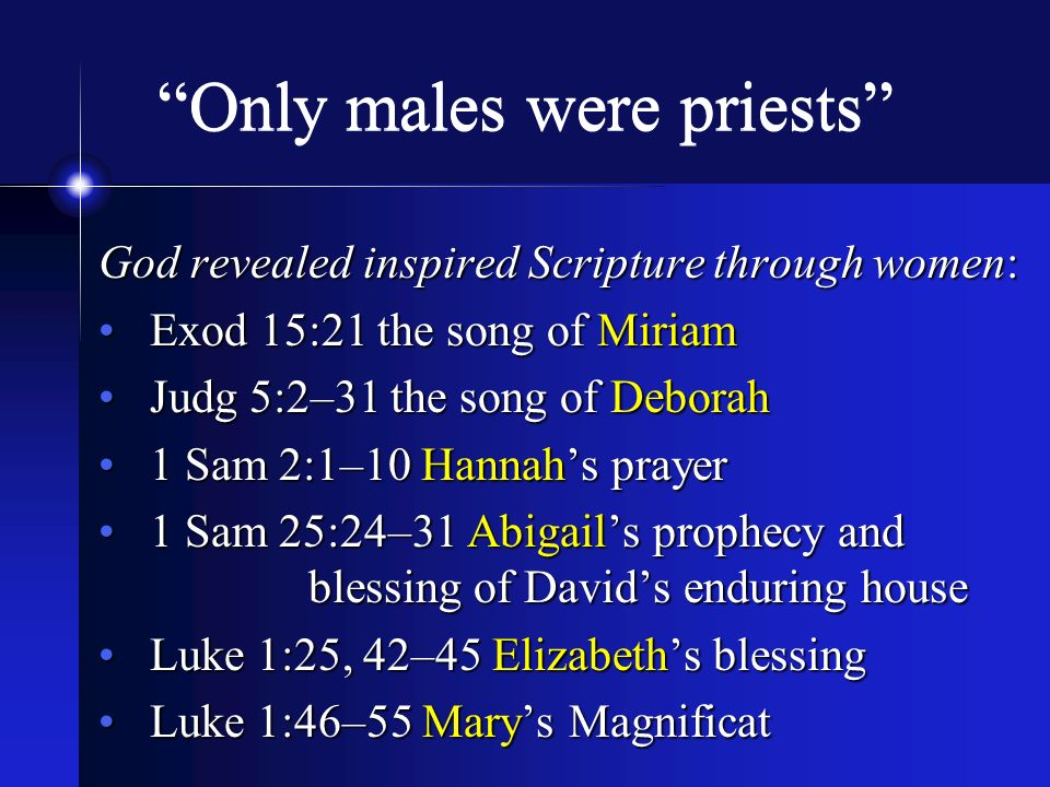 Only males were priests