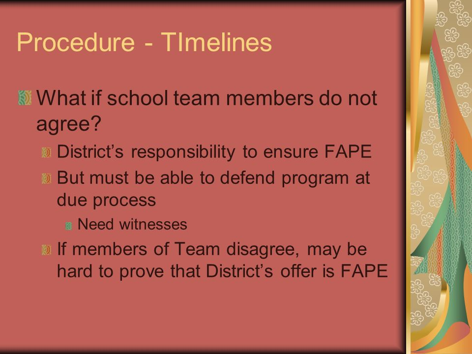 Procedure - TImelines What if school team members do not agree