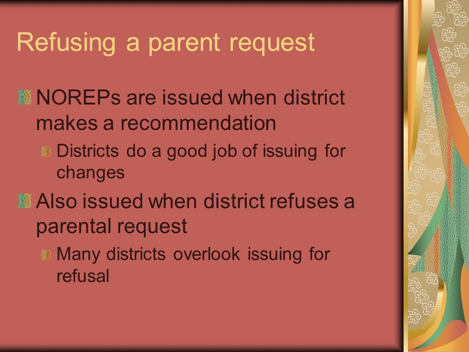 Refusing a parent request