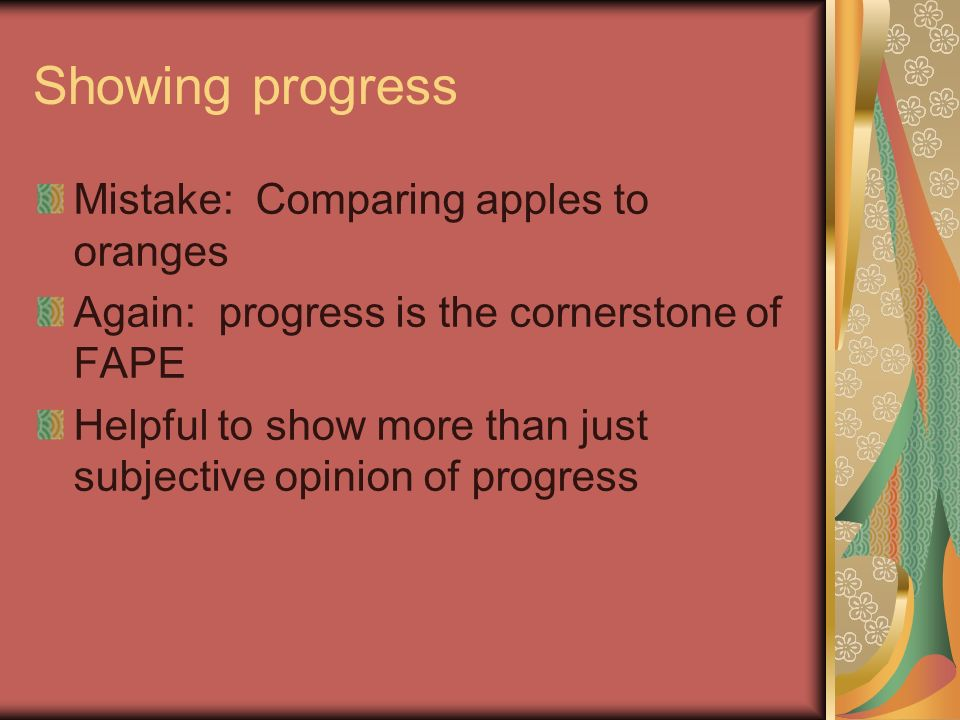 Showing progress Mistake: Comparing apples to oranges