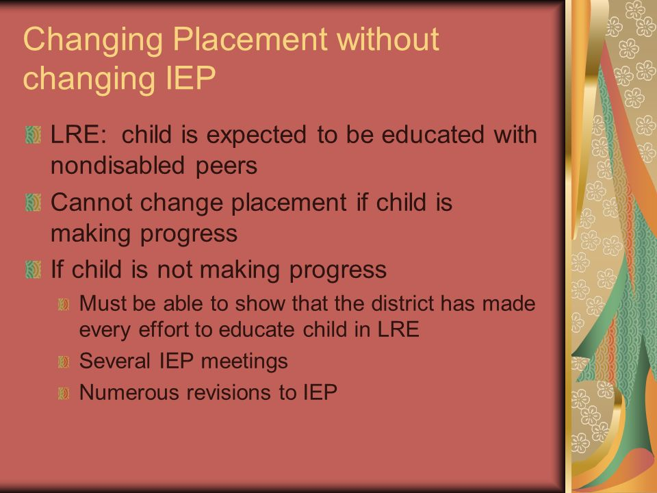 Changing Placement without changing IEP