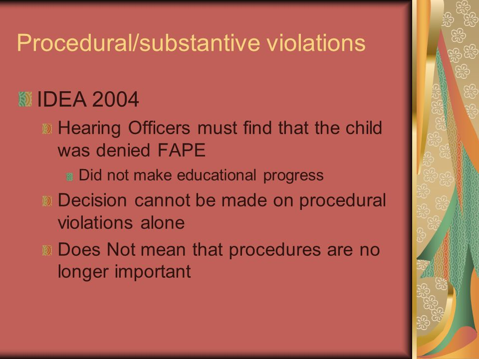 Procedural/substantive violations