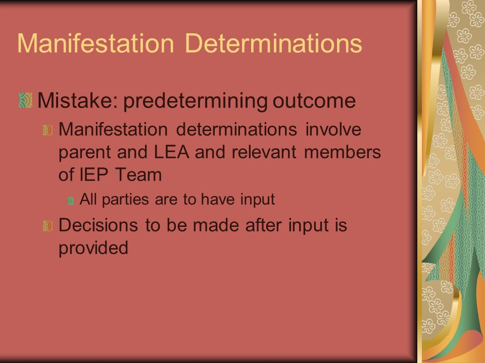 Manifestation Determinations