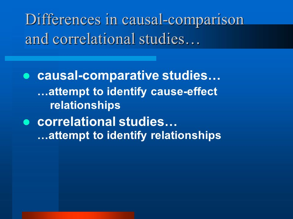 Differences in causal-comparison and correlational studies…