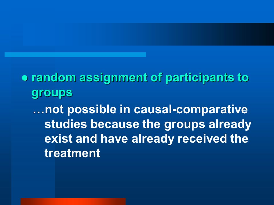 random assignment of participants to groups