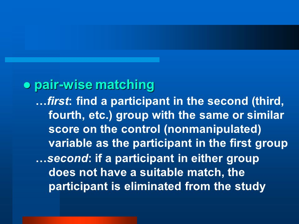 pair-wise matching