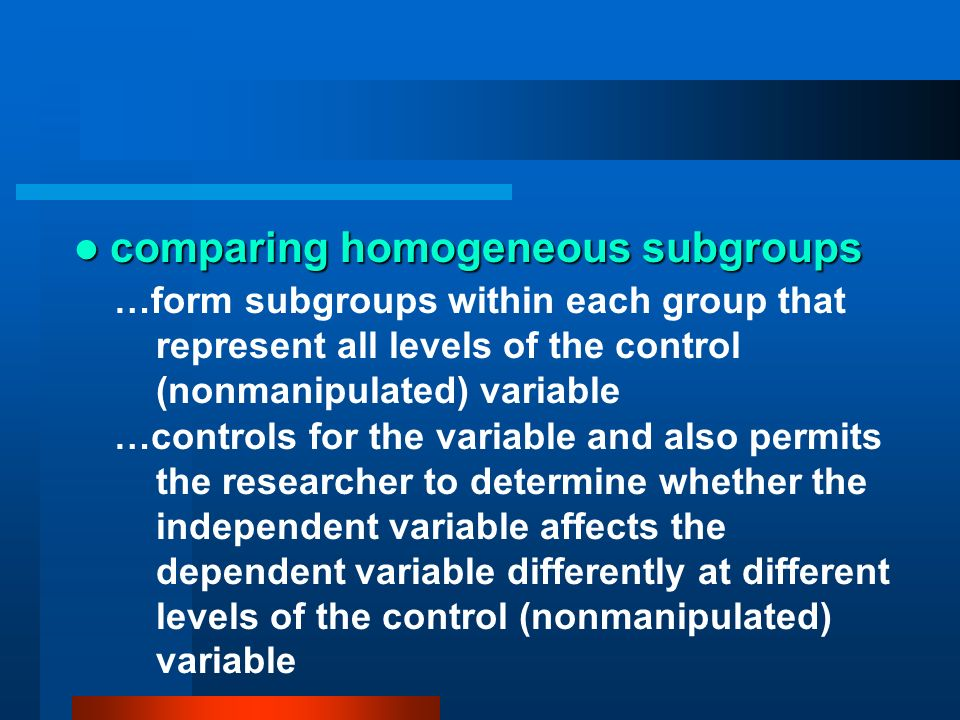 comparing homogeneous subgroups