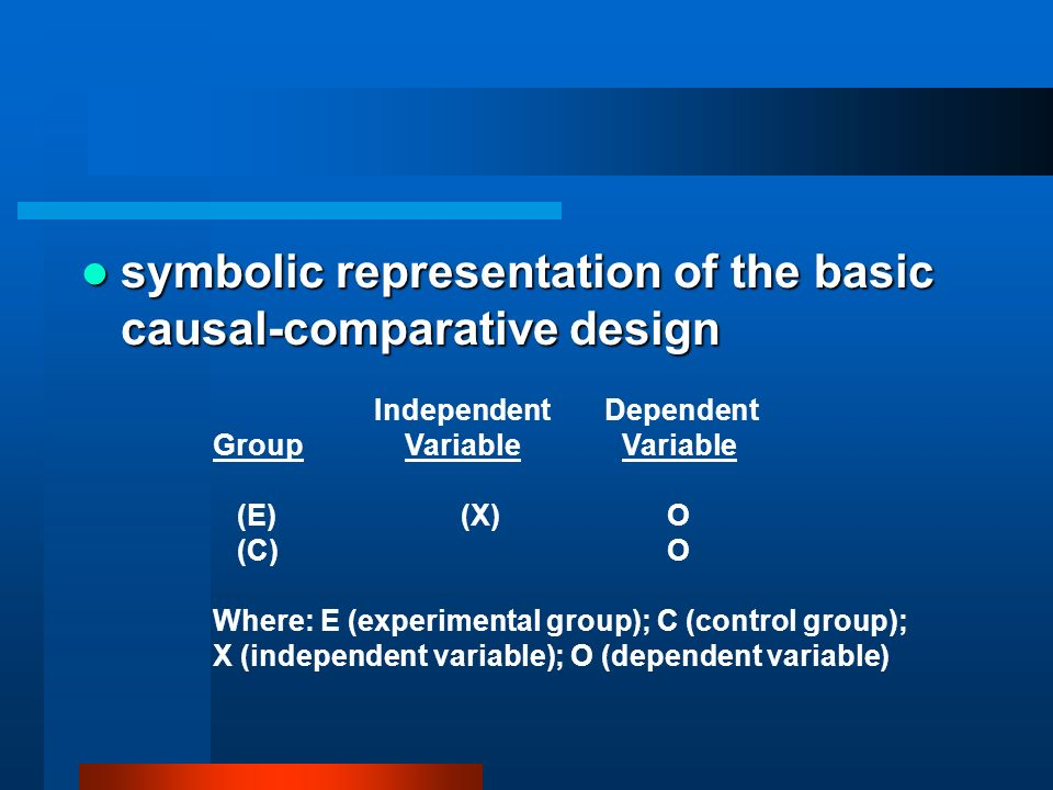 symbolic representation of the basic causal-comparative design