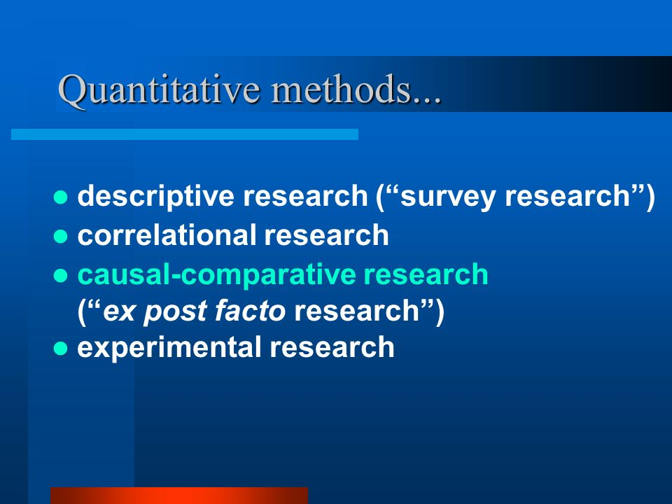 Quantitative methods... descriptive research ( survey research )