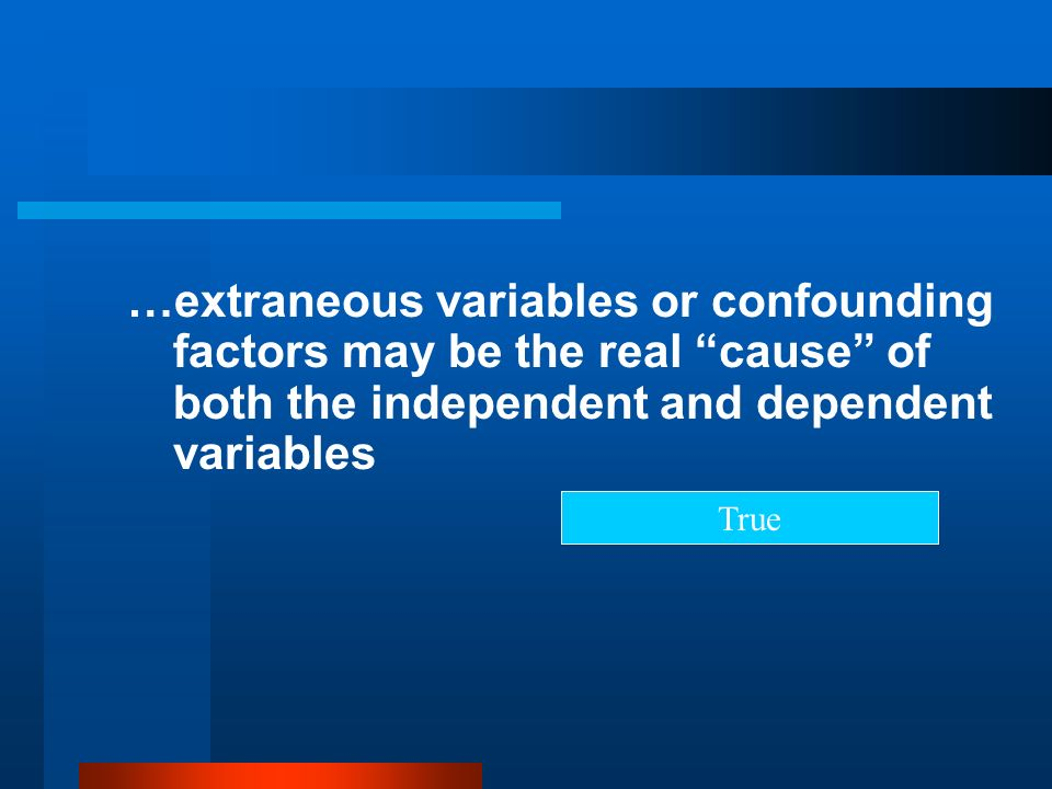 …extraneous variables or confounding factors may be the real cause of both the independent and dependent variables