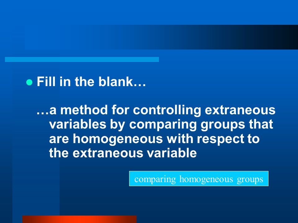 comparing homogeneous groups