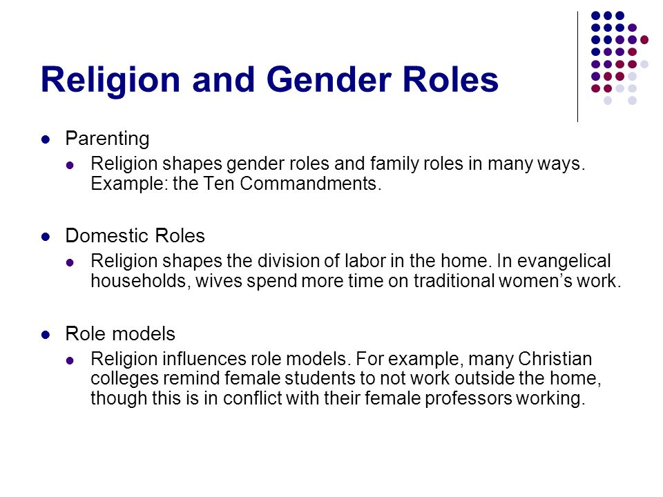 family religion and gender perception Gender roles an incomplete revolution perceptions about gender roles our chapter builds on a wealth of literature about family and gender role change.
