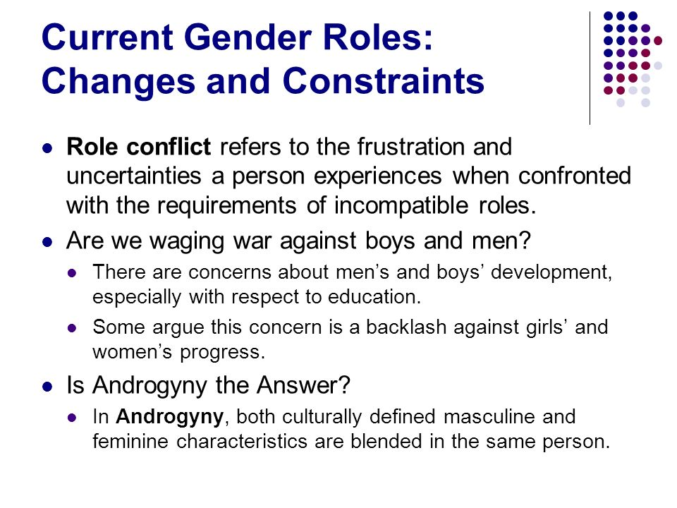 Current Gender Roles: Changes and Constraints