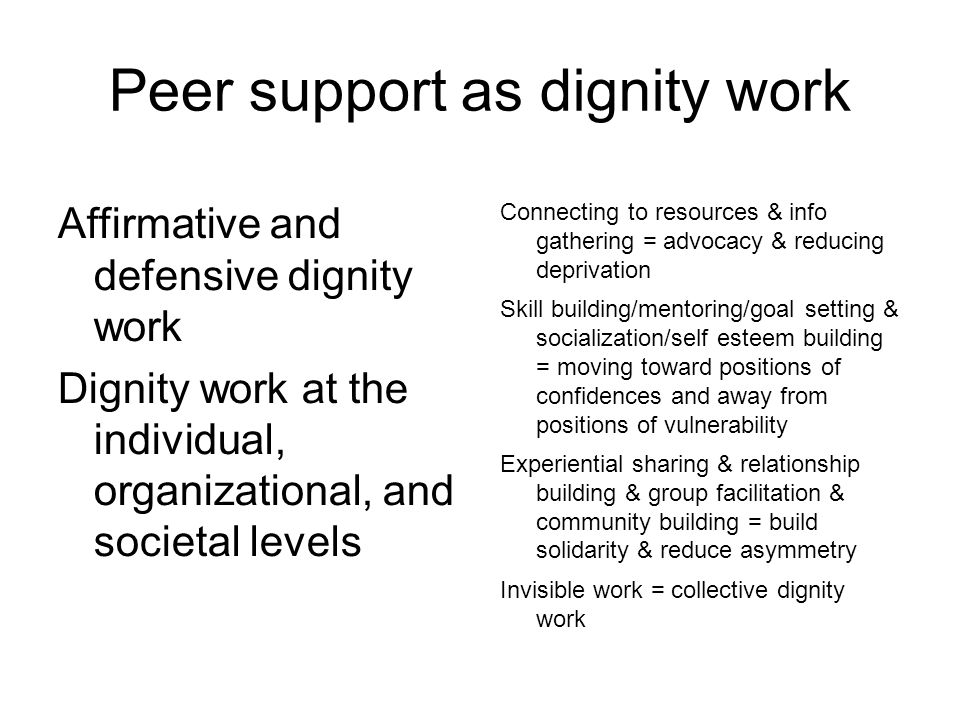 Peer support as dignity work