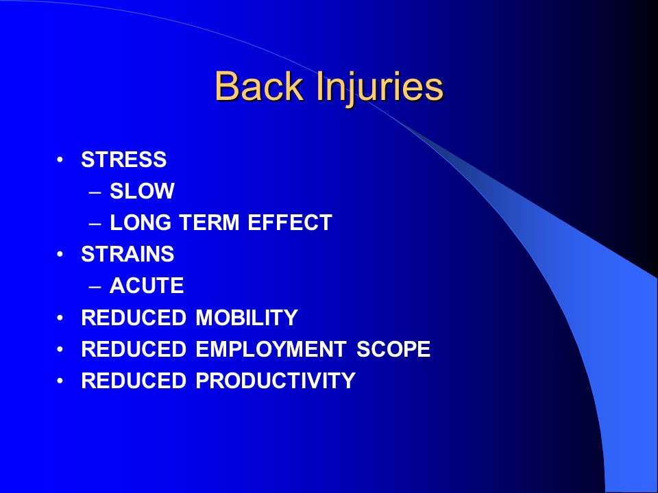 Back Injuries STRESS SLOW LONG TERM EFFECT STRAINS ACUTE