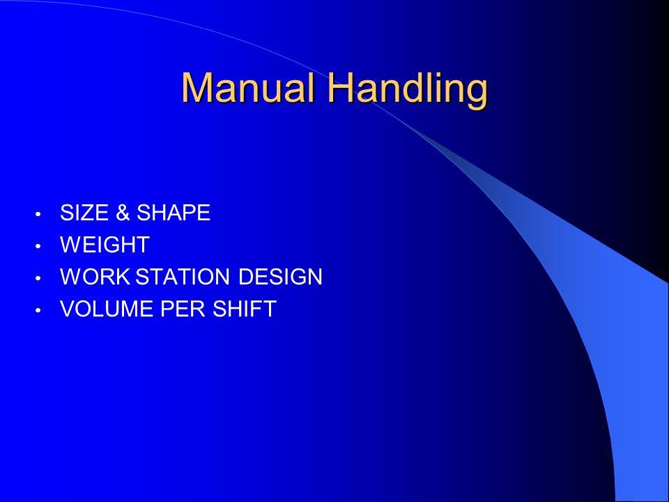 Manual Handling SIZE & SHAPE WEIGHT WORK STATION DESIGN