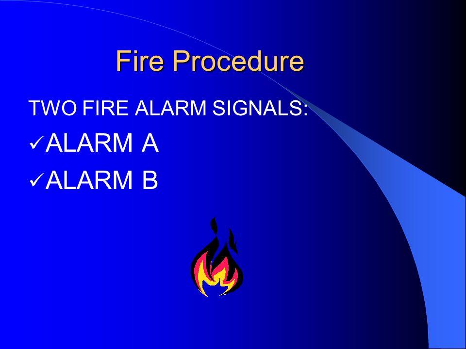 Fire Procedure TWO FIRE ALARM SIGNALS: ALARM A ALARM B
