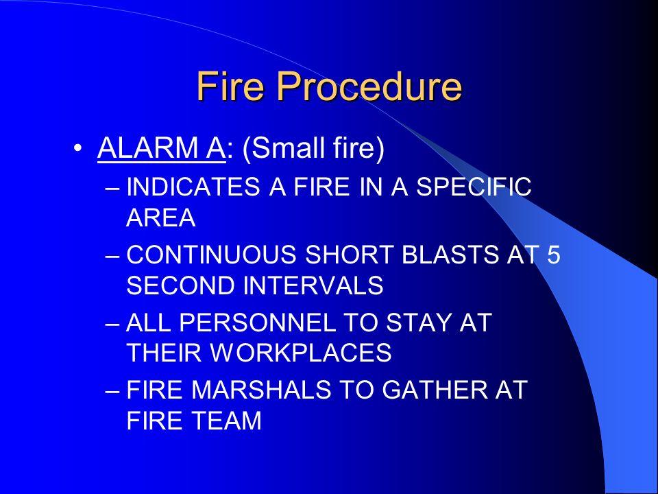 Fire Procedure ALARM A: (Small fire)