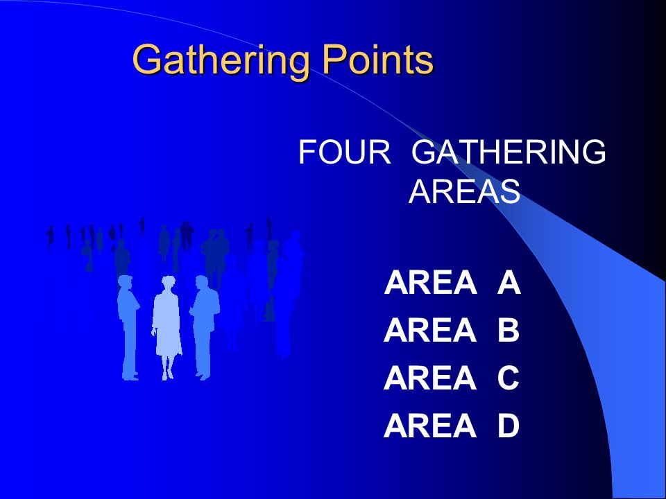 Gathering Points FOUR GATHERING AREAS AREA A AREA B AREA C AREA D