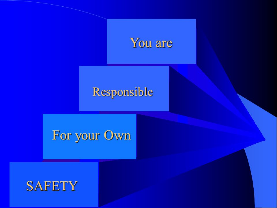 You are Responsible For your Own SAFETY