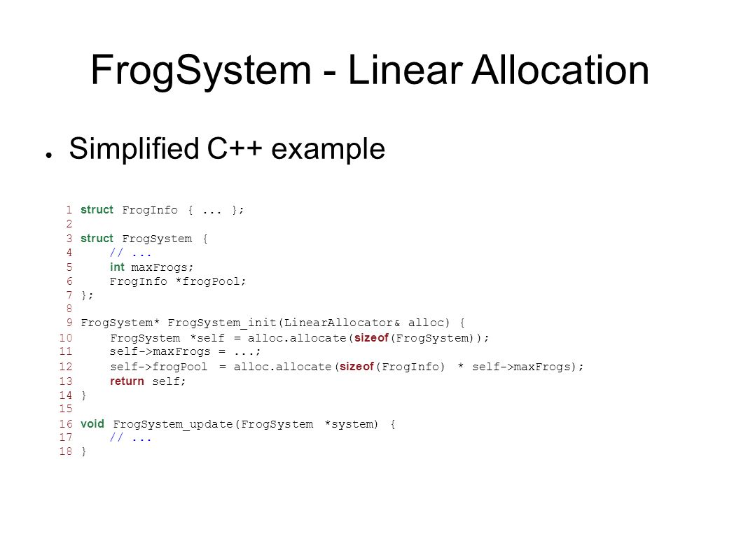 FrogSystem - Linear Allocation