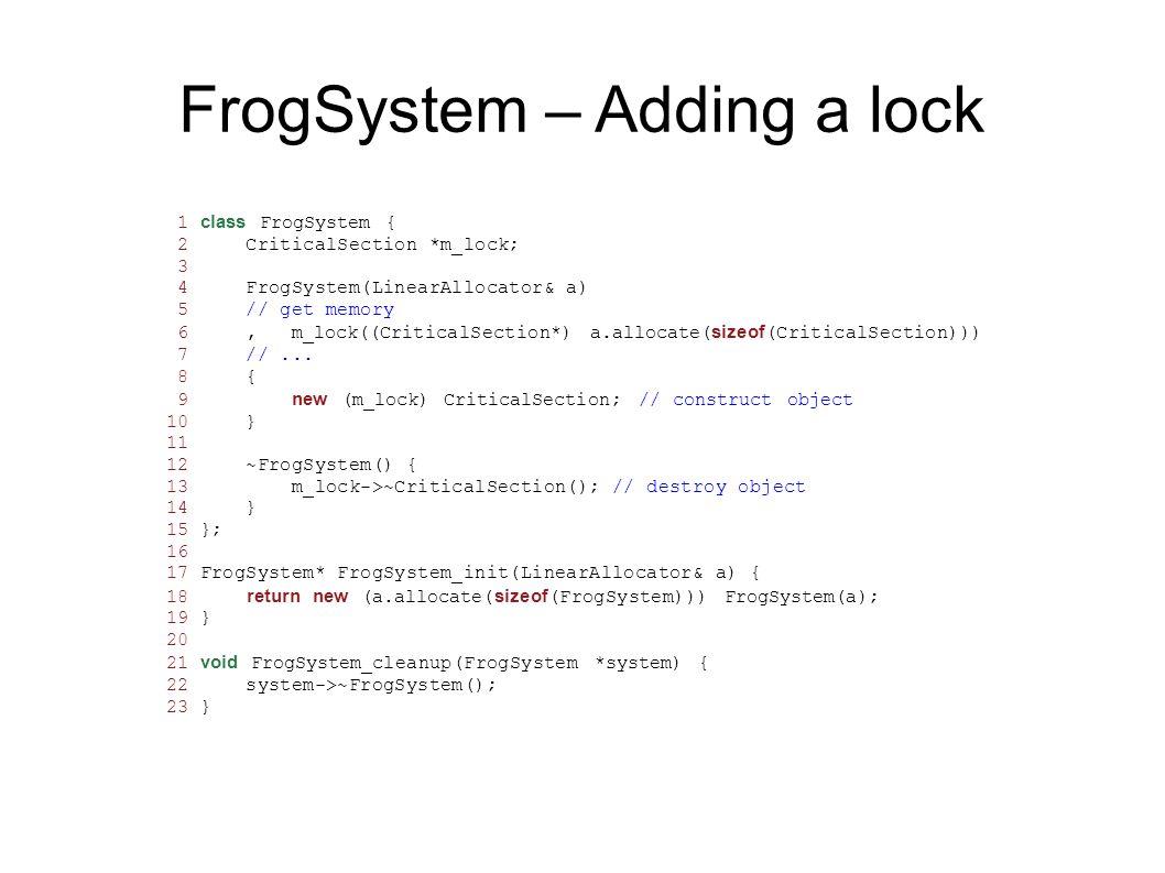 FrogSystem – Adding a lock