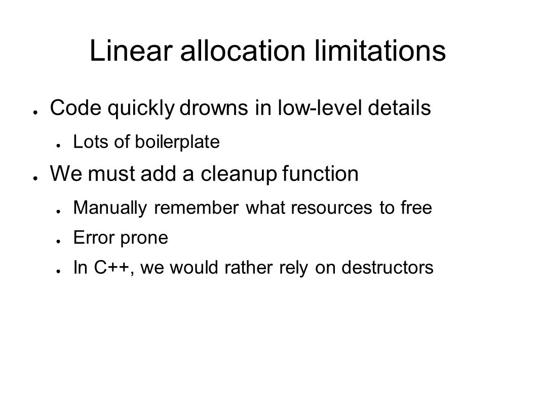 Linear allocation limitations
