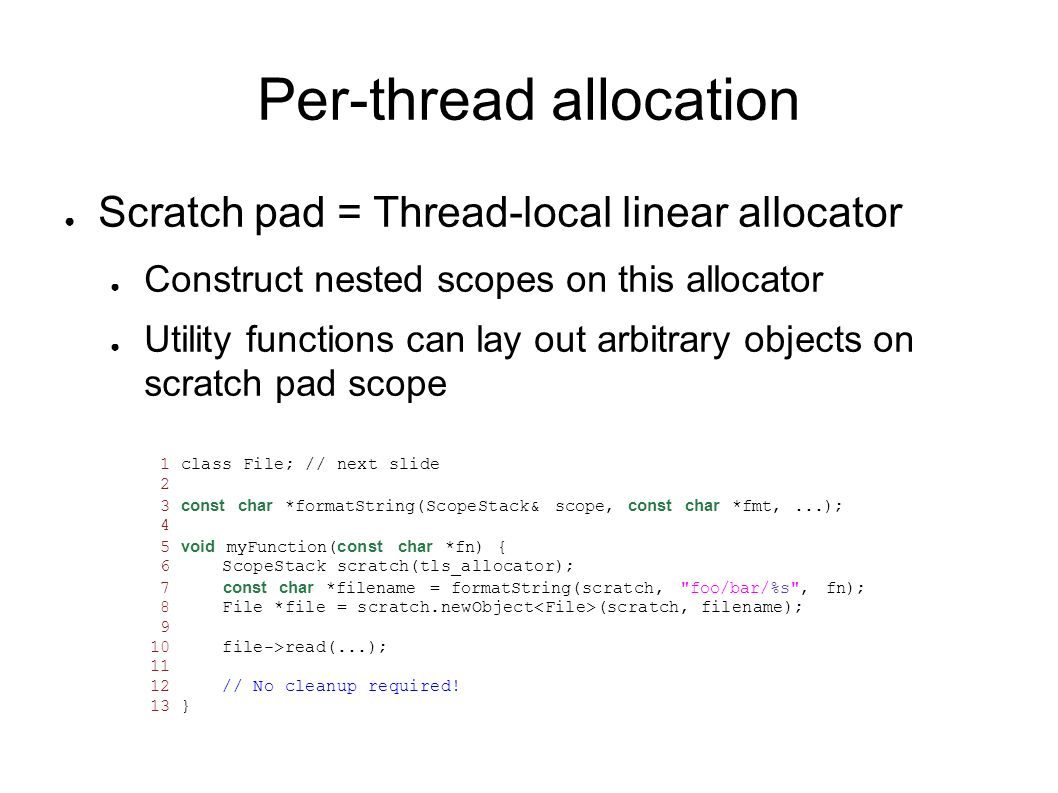 Per-thread allocation