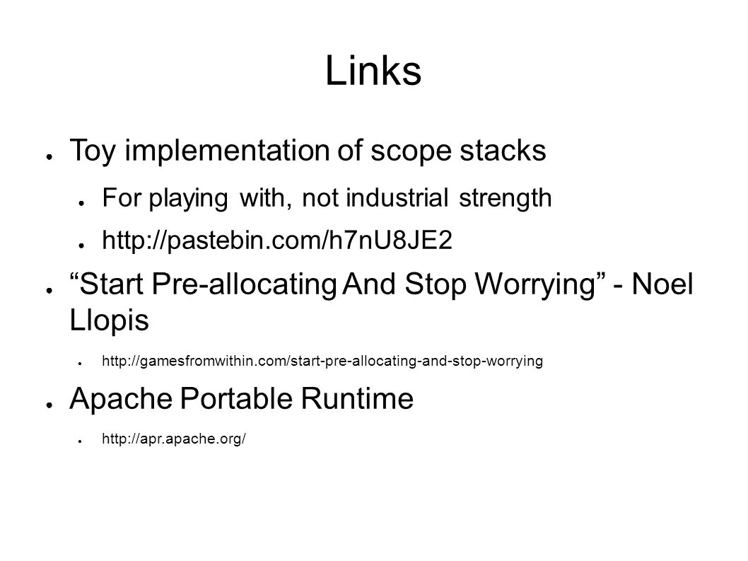 Links Toy implementation of scope stacks