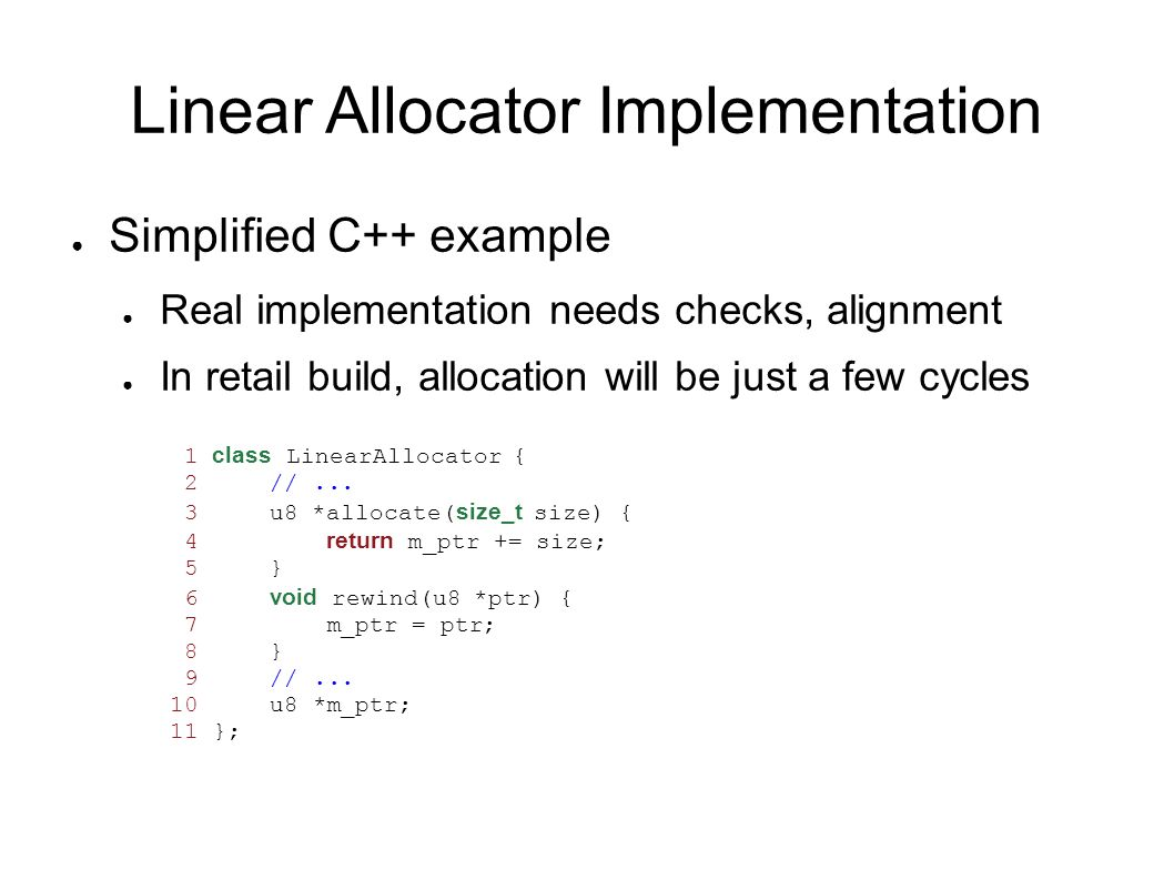 Linear Allocator Implementation