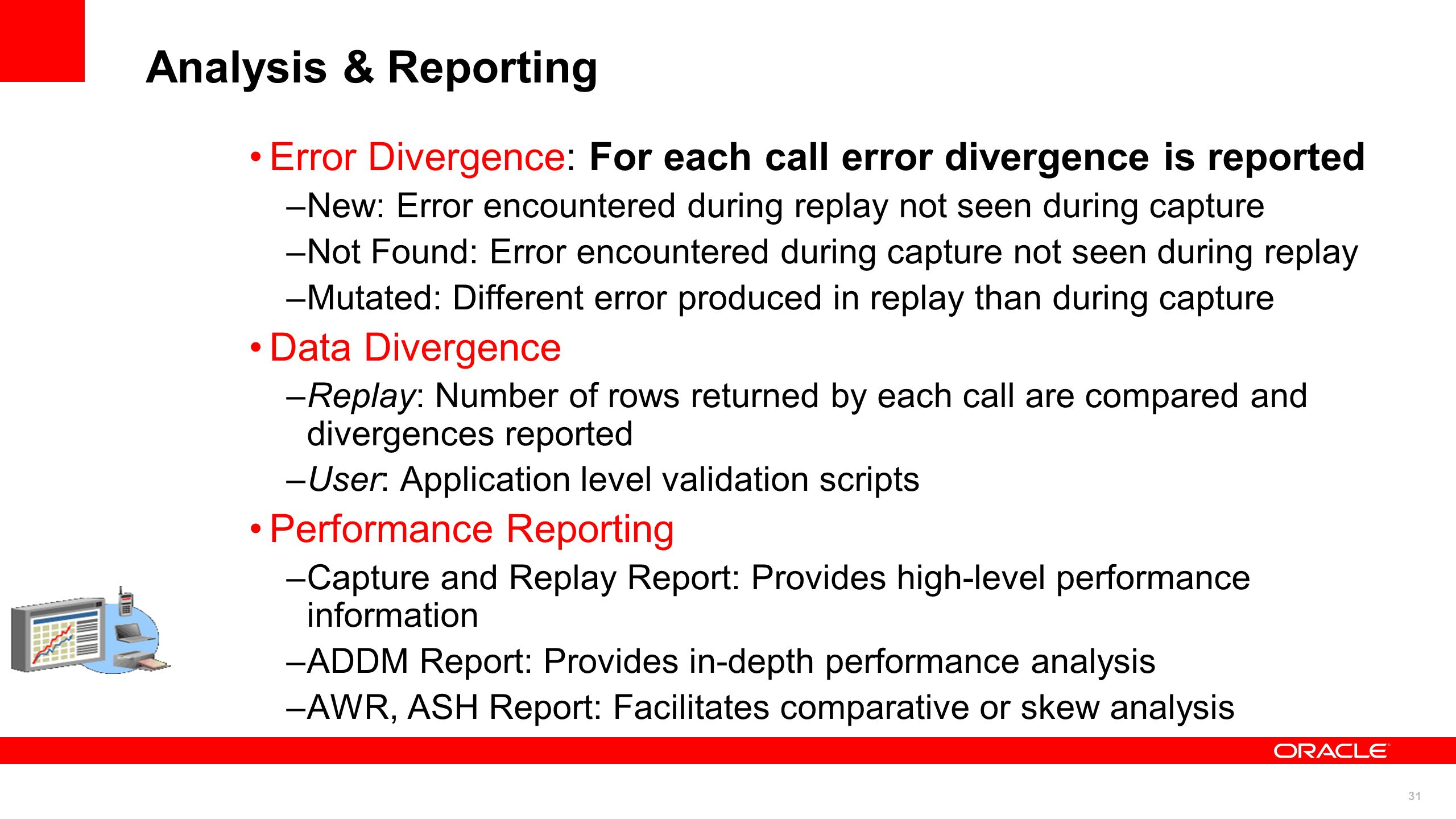 Analysis & Reporting Error Divergence: For each call error divergence is reported. New: Error encountered during replay not seen during capture.
