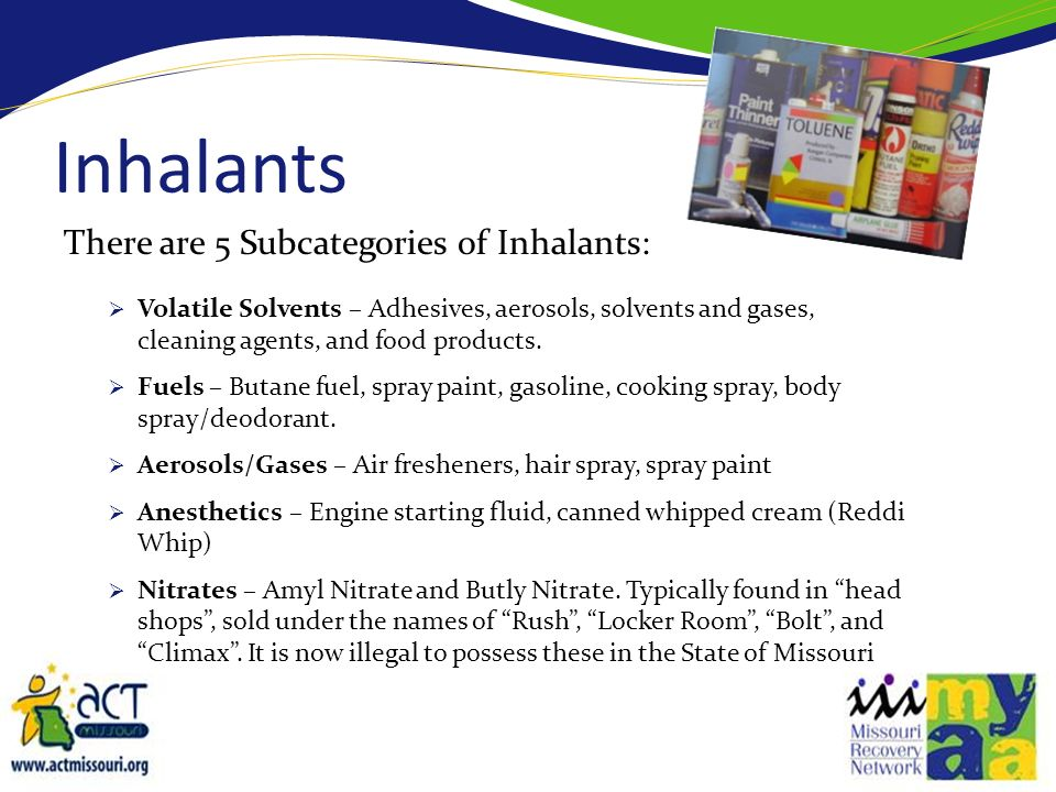 Inhalants There are 5 Subcategories of Inhalants: