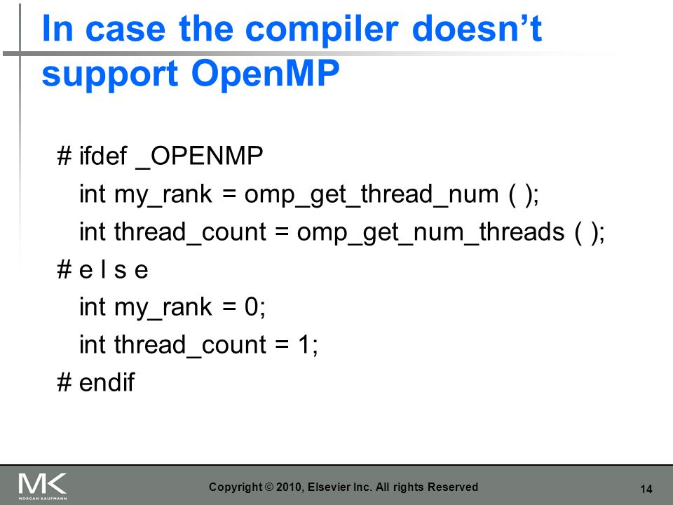 In case the compiler doesn't support OpenMP
