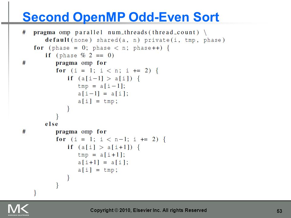 Second OpenMP Odd-Even Sort