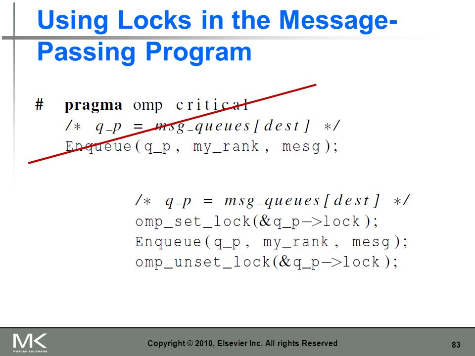 Using Locks in the Message-Passing Program