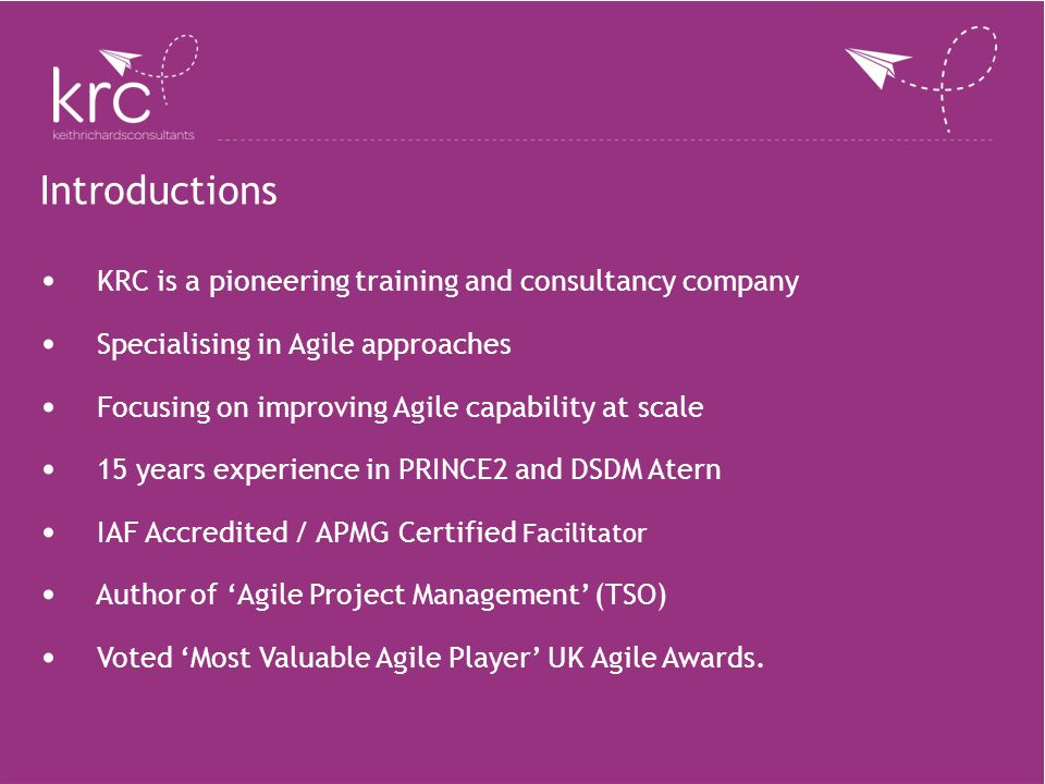 Introductions KRC is a pioneering training and consultancy company