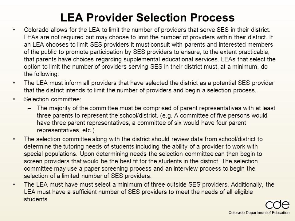 LEA Provider Selection Process
