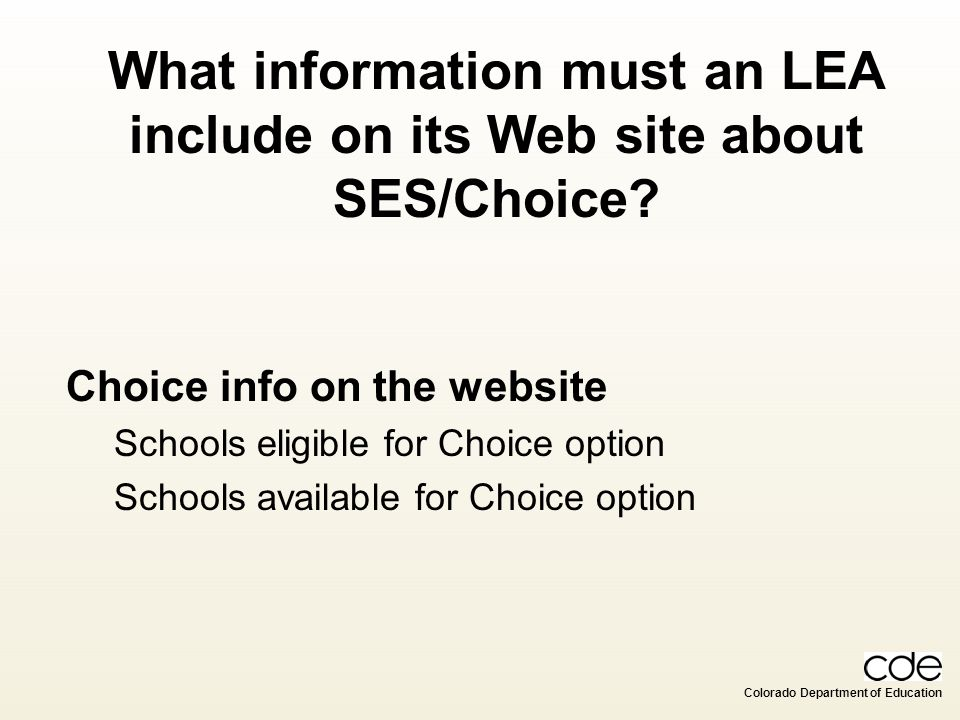 What information must an LEA include on its Web site about SES/Choice