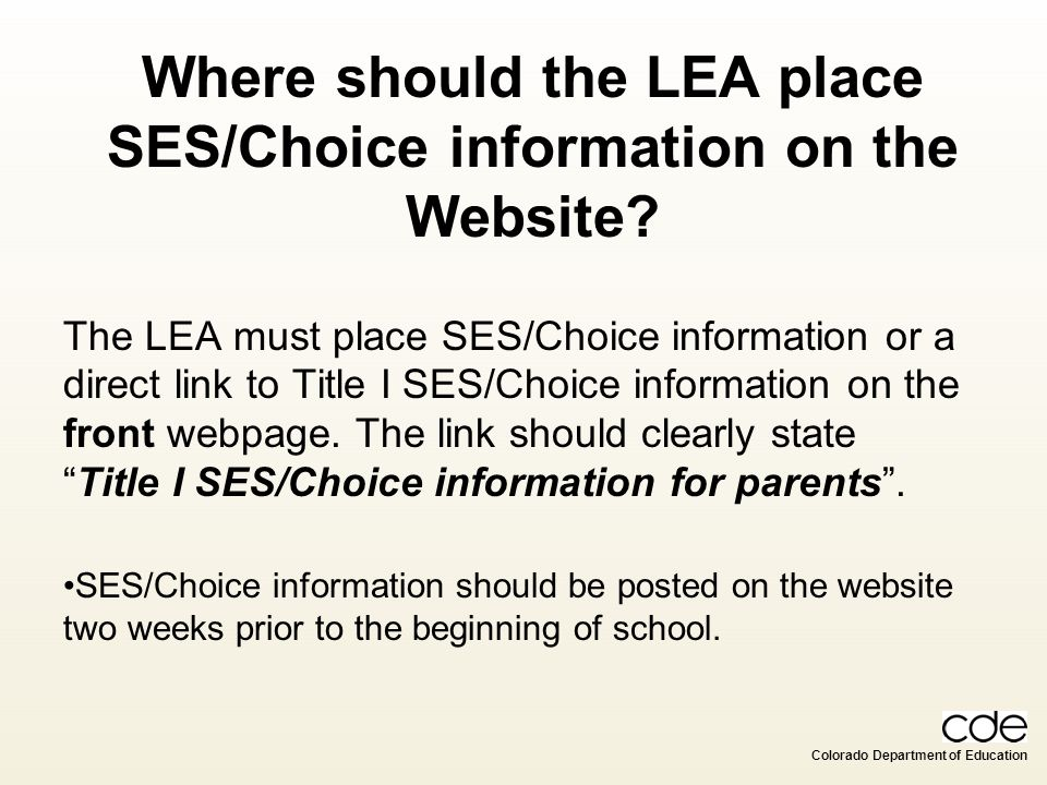 Where should the LEA place SES/Choice information on the Website
