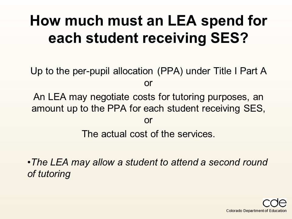 How much must an LEA spend for each student receiving SES