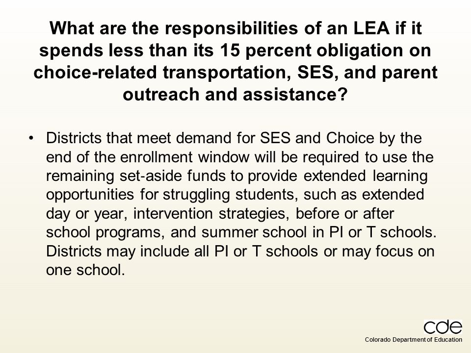 What are the responsibilities of an LEA if it spends less than its 15 percent obligation on choice-related transportation, SES, and parent outreach and assistance