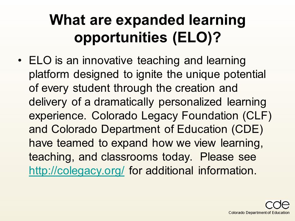 What are expanded learning opportunities (ELO)