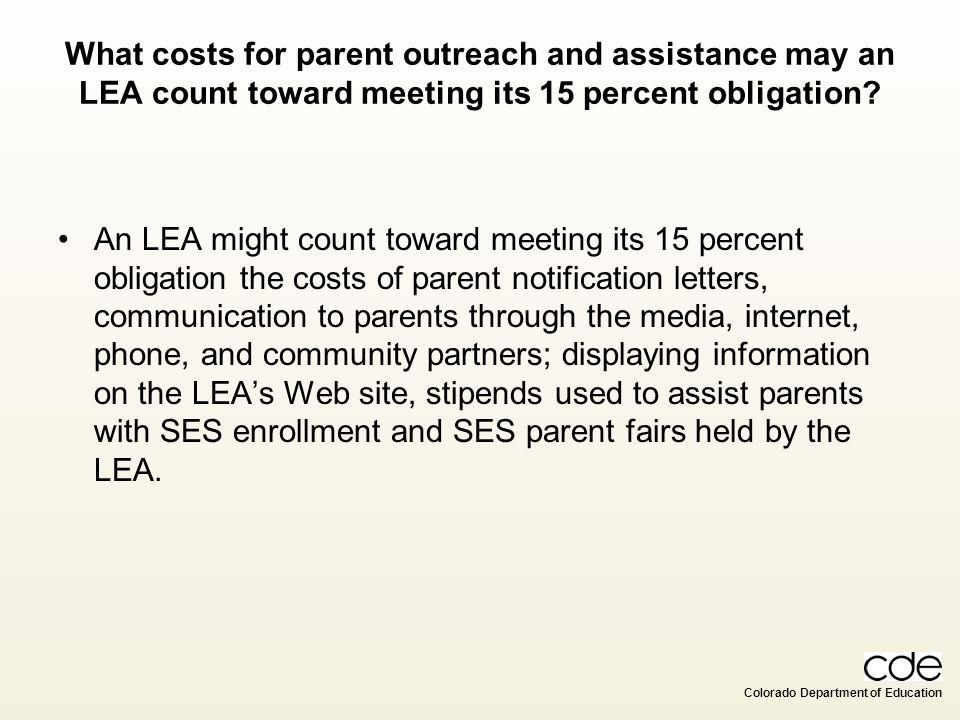 What costs for parent outreach and assistance may an LEA count toward meeting its 15 percent obligation