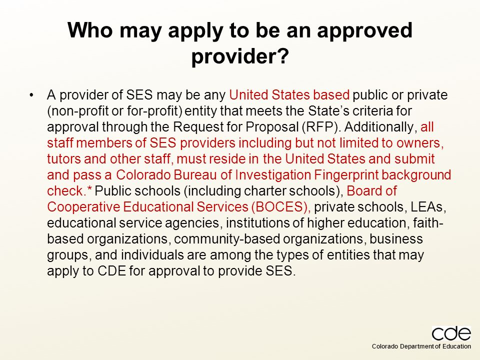Who may apply to be an approved provider