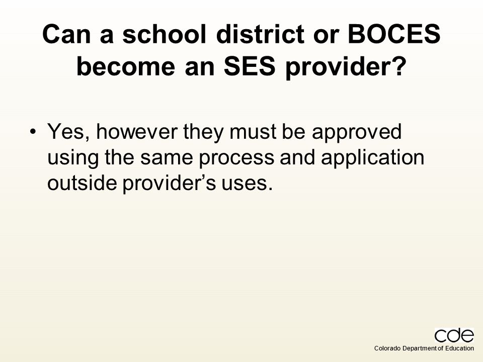 Can a school district or BOCES become an SES provider