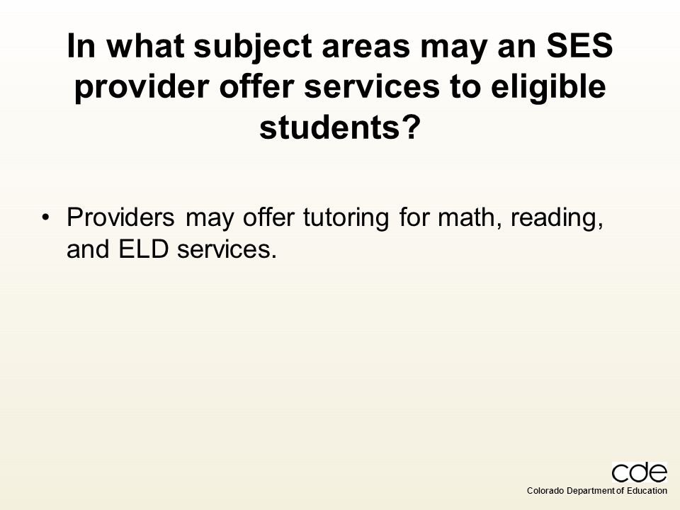 In what subject areas may an SES provider offer services to eligible students