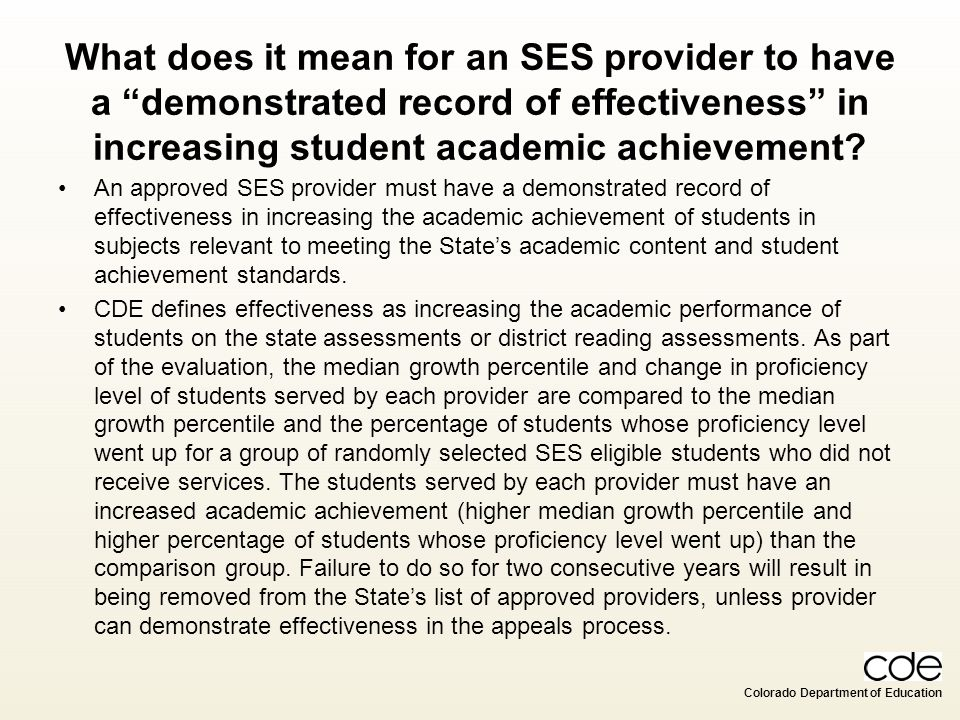 What does it mean for an SES provider to have a demonstrated record of effectiveness in increasing student academic achievement