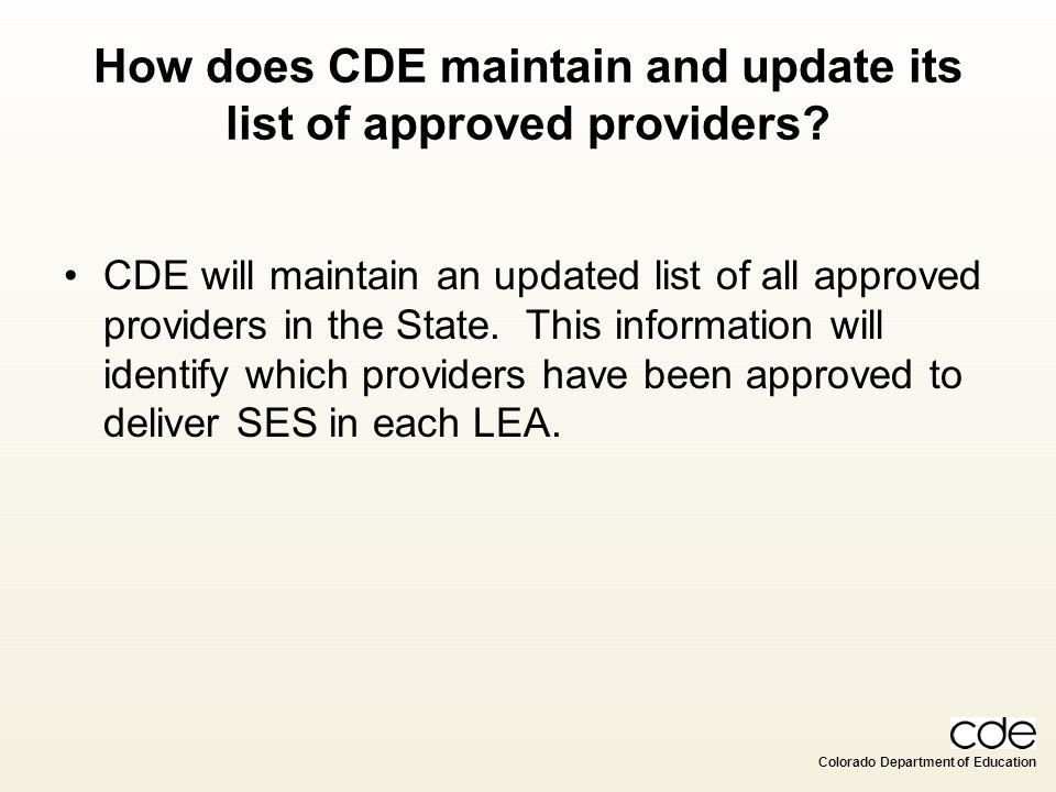 How does CDE maintain and update its list of approved providers
